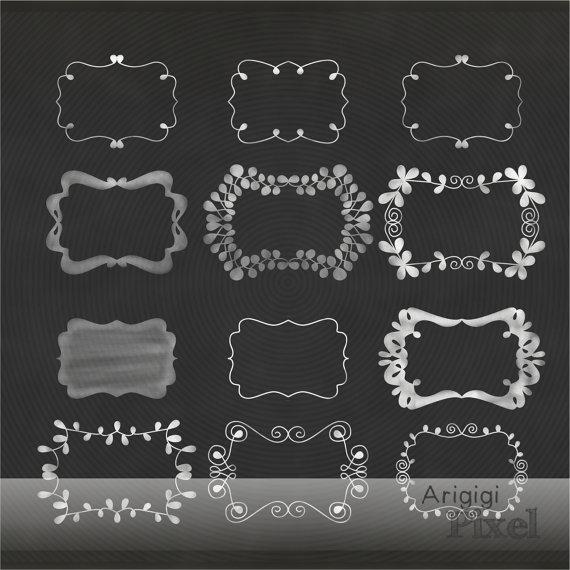 Chalkboard clipart scrapbook. Chalk flourish frames clip