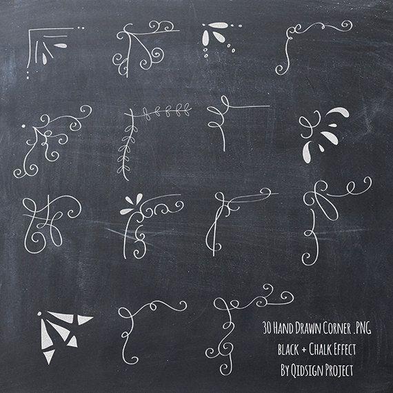 hand drawn corner. Chalkboard clipart scrapbook