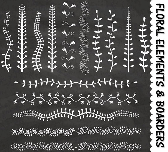 Decorative floral elements border. Chalkboard clipart scrapbook
