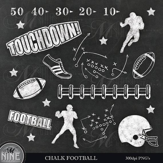 Chalk football clip art. Chalkboard clipart scrapbook