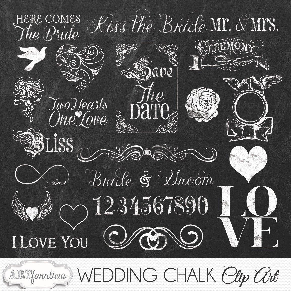 Chalkboard clipart scrapbook. Artfanaticus wedding cliparts chalk