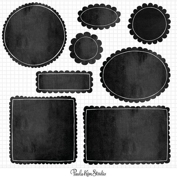 Digital frame scallop edge. Chalkboard clipart square