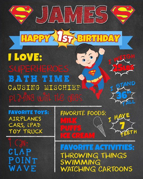 First birthday superman poster. Chalkboard clipart superhero