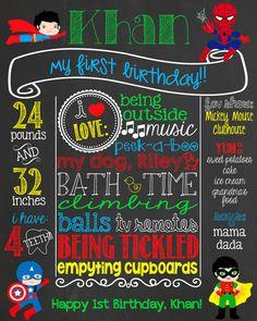 Chalkboard clipart superhero. First birthday superheroes party