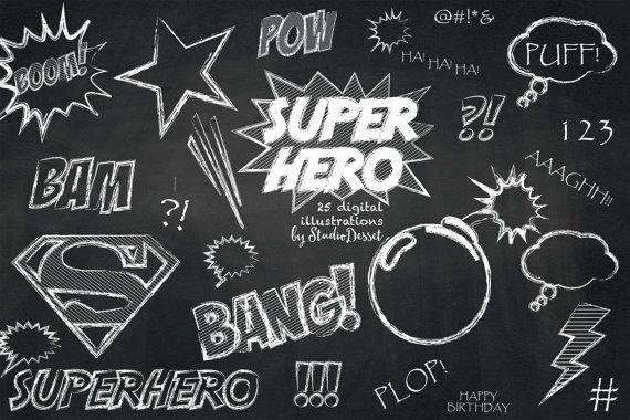 Cliparts super hero clip. Chalkboard clipart superhero