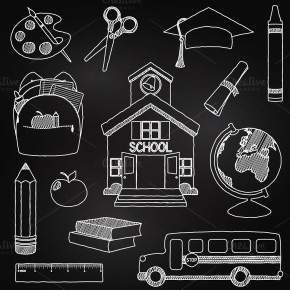 Chalkboard clipart vector. School vectors by pinkpueblo