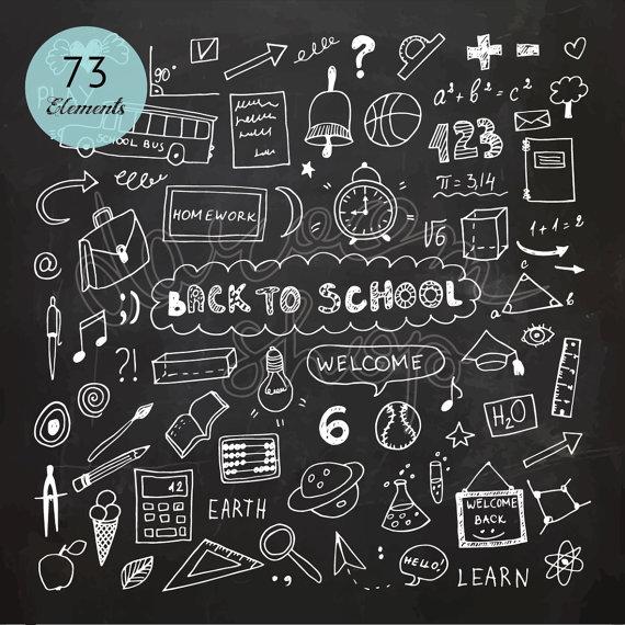 Chalk hand drawn school. Chalkboard clipart vector