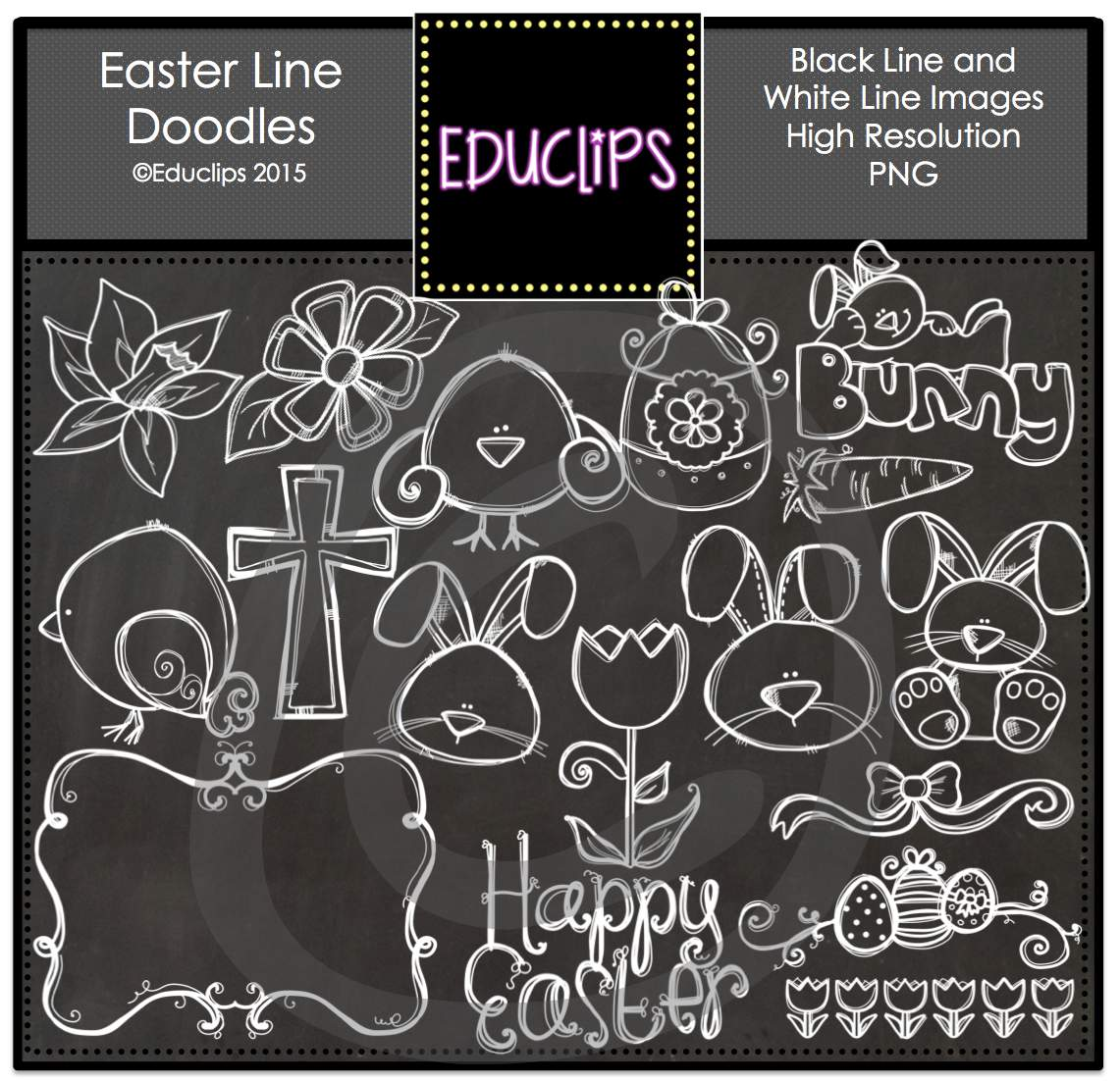 Clipart easter chalkboard. And whiteboard line doodles