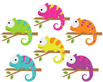 Chameleon clipart. Etsy colorful chameleons digital