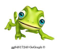 Chameleon clipart adorable. Cartoon character stock illustration
