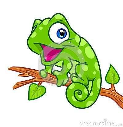 Chameleon clipart adorable. Cheerful tree branch cartoon