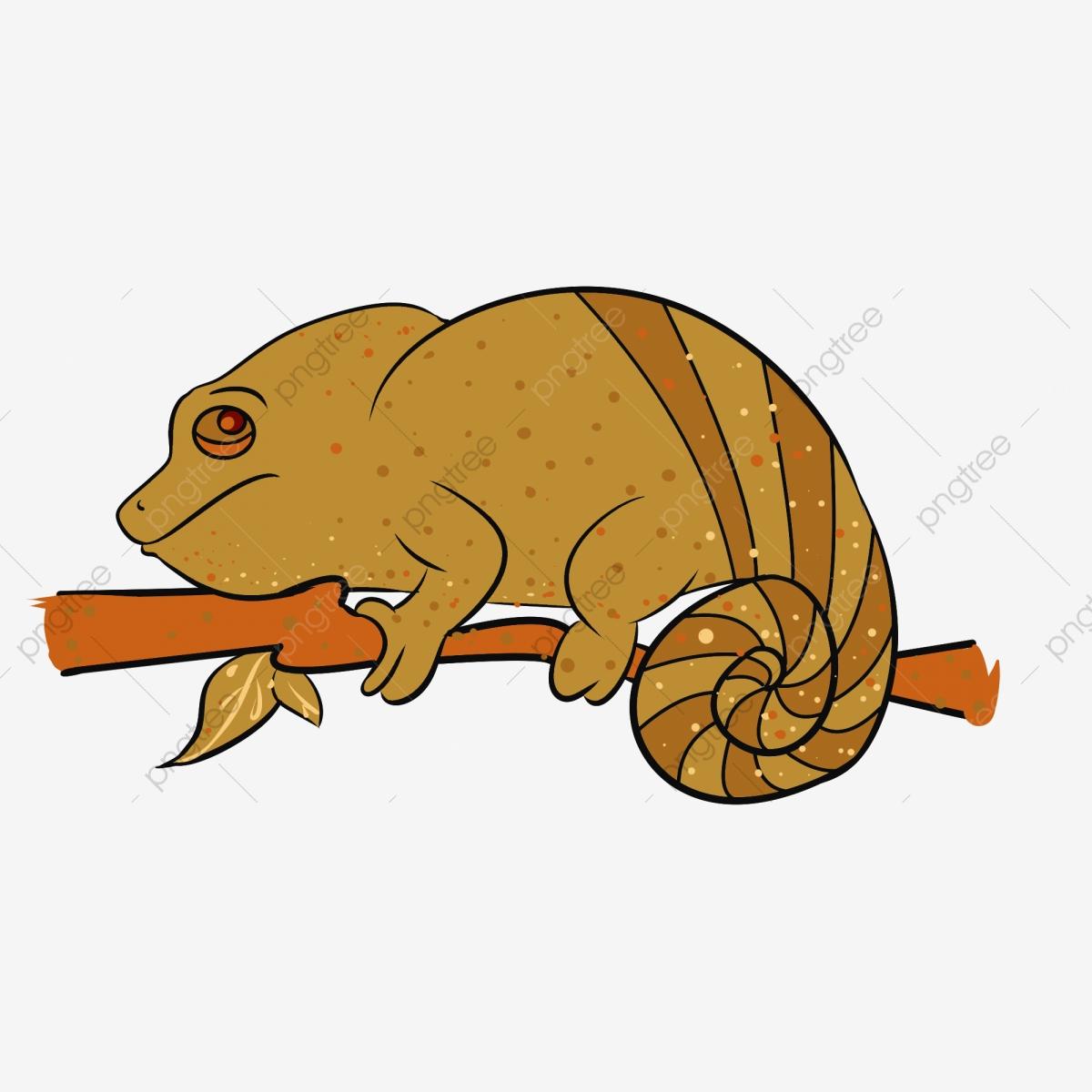 Yellow lizard cute cartoon. Chameleon clipart adorable