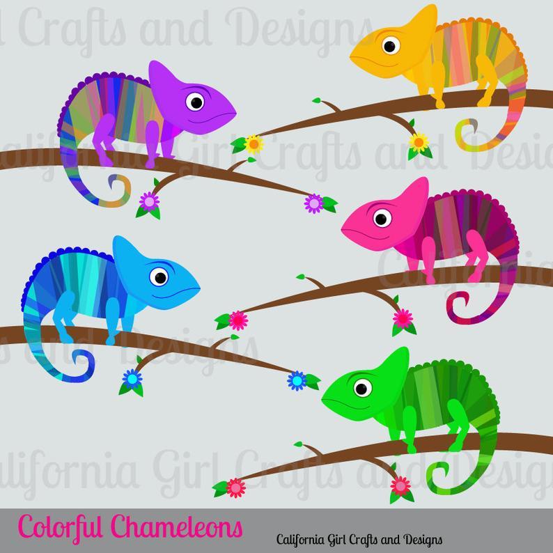 Colorful chameleons set instant. Chameleon clipart adorable