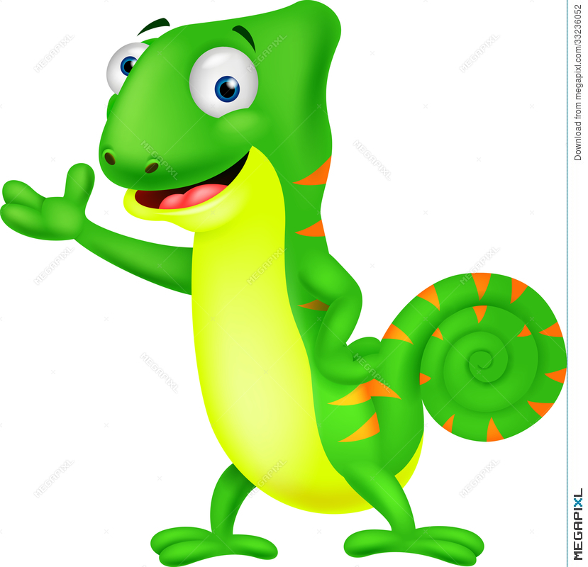 Chameleon clipart animated. Cartoon illustration megapixl
