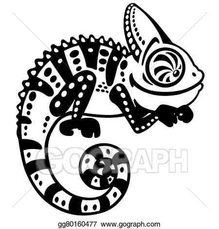 Vector art cartoon black. Chameleon clipart animated