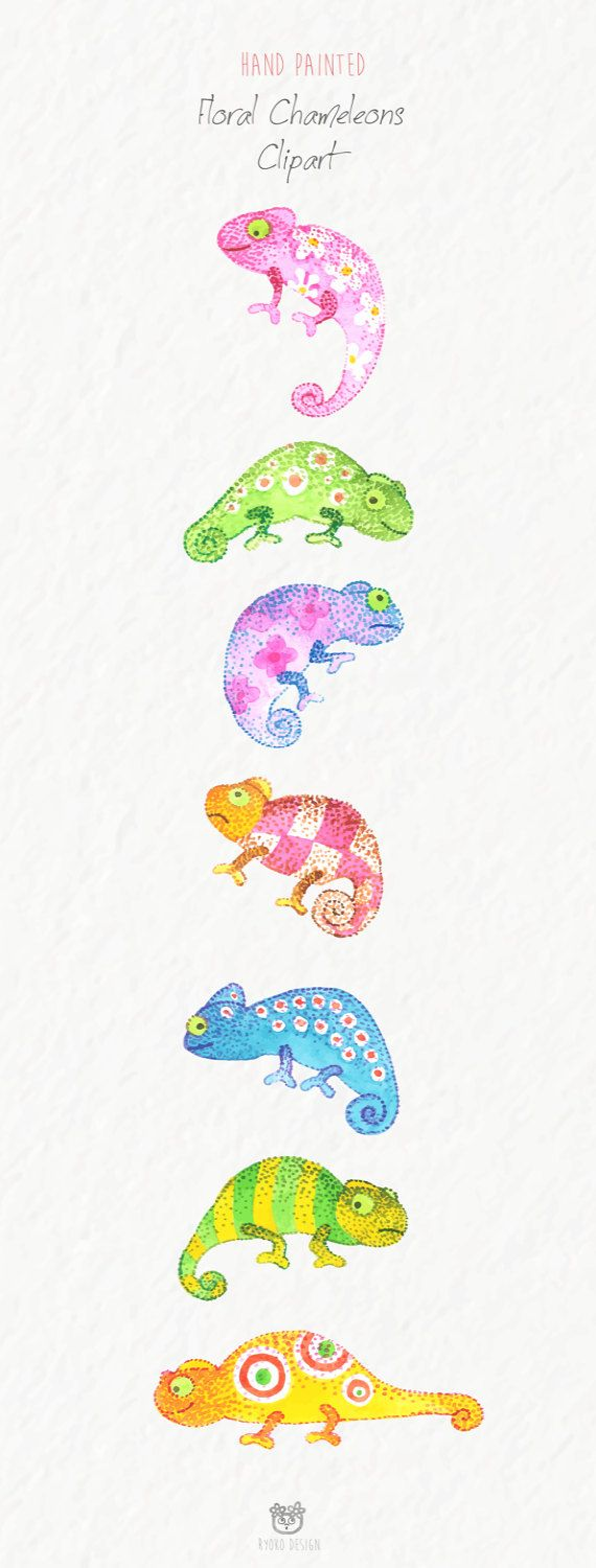 Watercolor illustrations tropical clip. Chameleon clipart baby