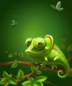 Lizard cliparts stock vector. Chameleon clipart baby