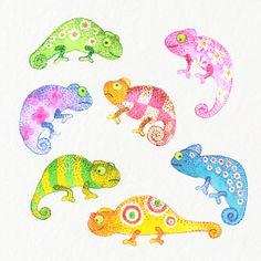 Chameleon clipart baby. Digital clip art set