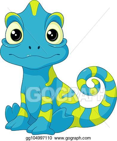 Vector art drawing gg. Chameleon clipart baby