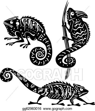 Vector art drawing gg. Chameleon clipart black and white