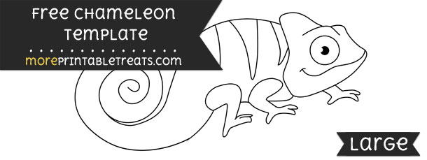 Chameleon clipart black and white. Template large
