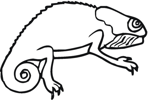 Chameleon clipart black and white. Coloring page free printable