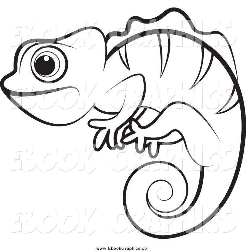 Outline drawing at getdrawings. Chameleon clipart black and white