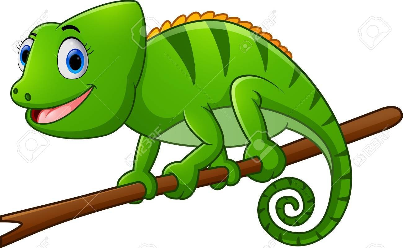 Of a rainbow lizard. Chameleon clipart cartoon