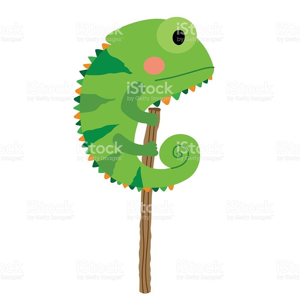 Chameleon clipart cartoon. Chamaleon bunt collection green