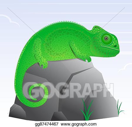 Chameleon clipart cartoon. Vector art lizard drawing