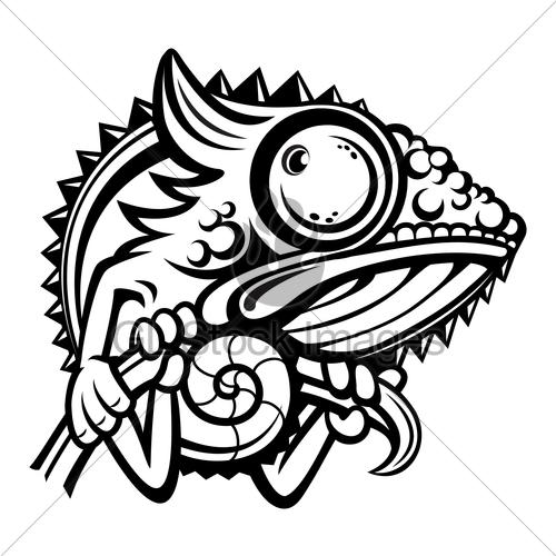 Chameleon clipart chameleon outline. Cartoon character gl stock