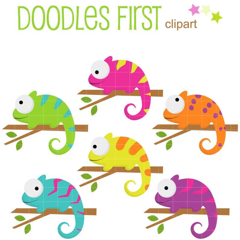 Chameleon clipart clip art. Colorful chameleons digital for