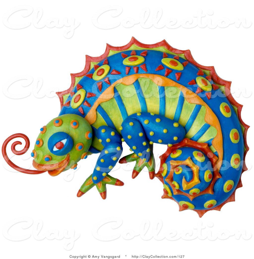 Clay illustration of a. Chameleon clipart colorful