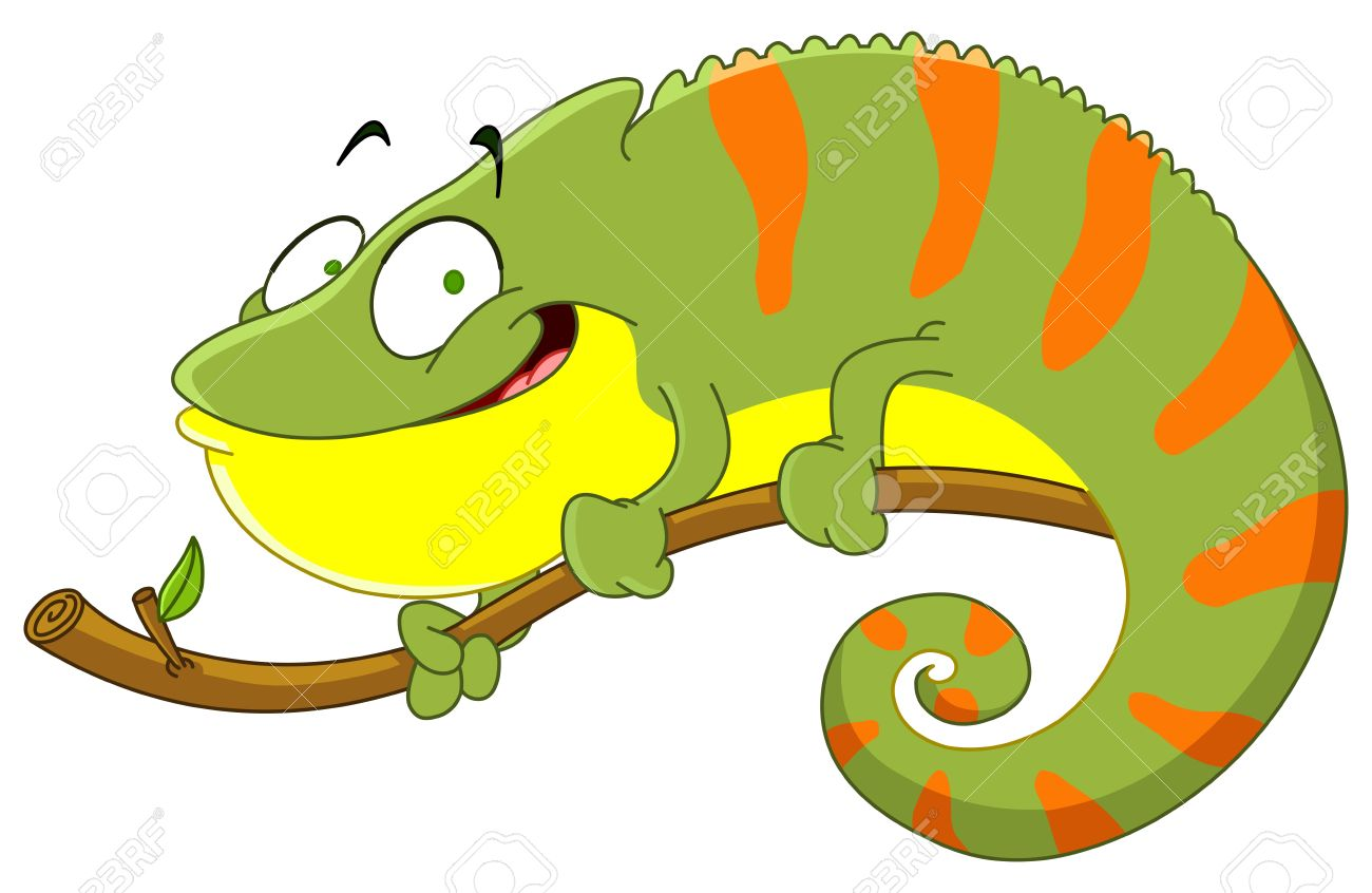 Green iguana animation pencil. Chameleon clipart colorful