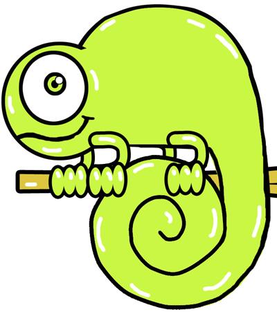 How to cartoon chameleons. Chameleon clipart easy draw