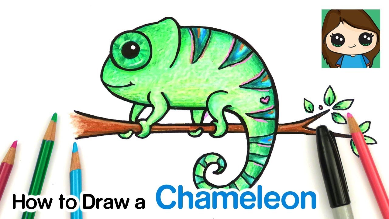 How to a . Chameleon clipart easy draw
