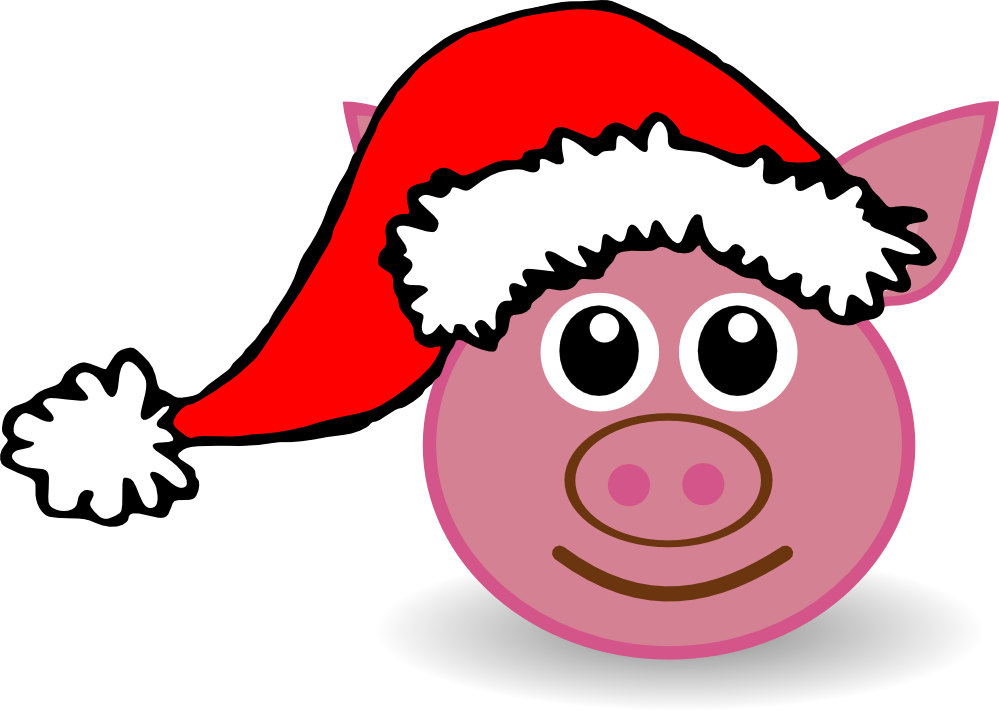 Three little pigs clip. Hat clipart christmas