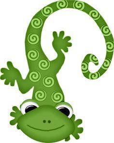 Lizard cliparts stock vector. Chameleon clipart gecko
