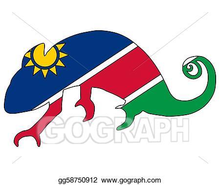 Vector stock namibia gg. Chameleon clipart illustration