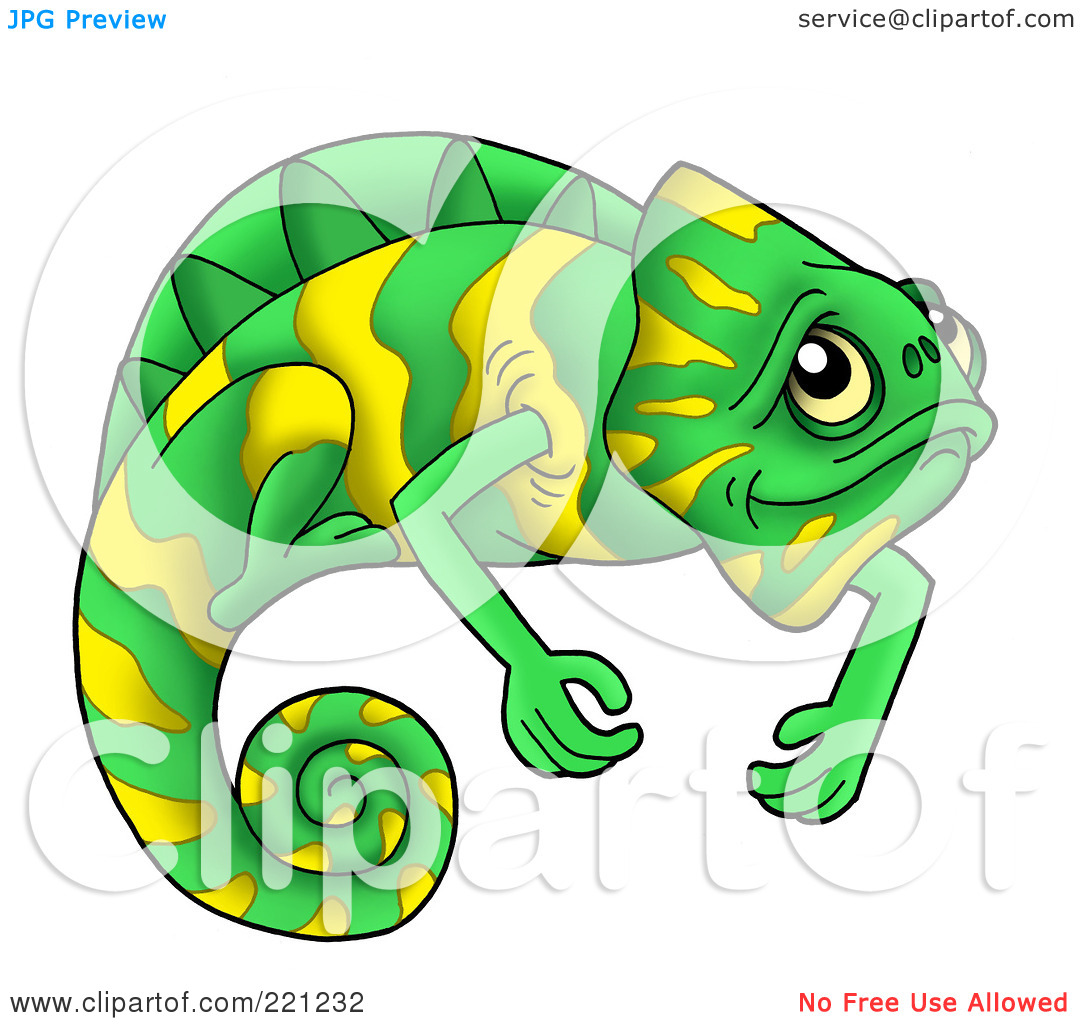 Lizard pencil and in. Chameleon clipart illustration