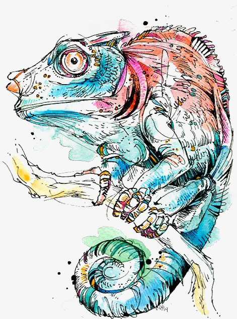 Watercolor cartoon hand painted. Chameleon clipart illustration
