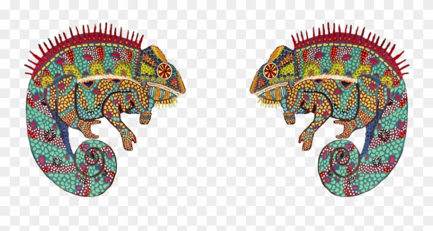 Cosmic and magic mushroom. Chameleon clipart illustration