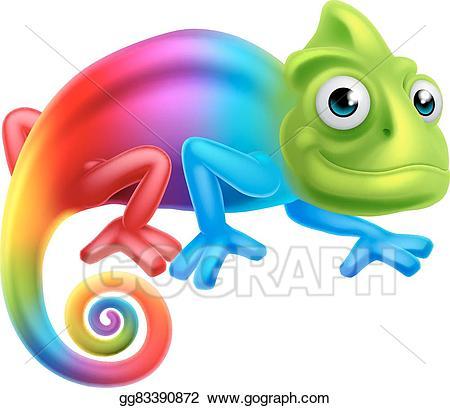 Vector stock cartoon rainbow. Chameleon clipart illustration