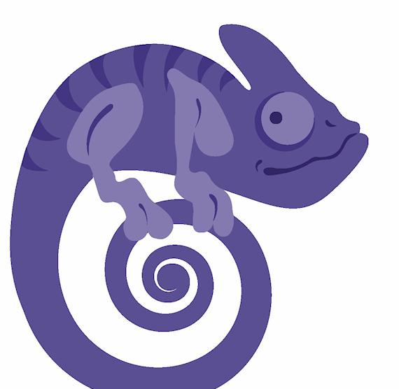 Chocolate violet candy color. Chameleon clipart purple