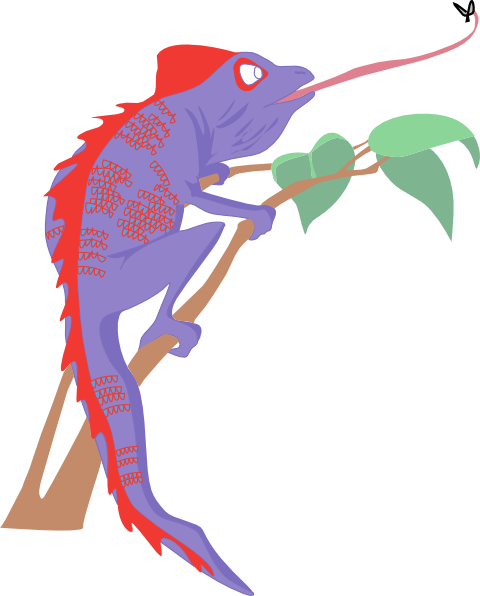 Chameleon clipart purple. And red clip art