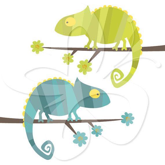 Chameleon clipart simple. Digital clip art set