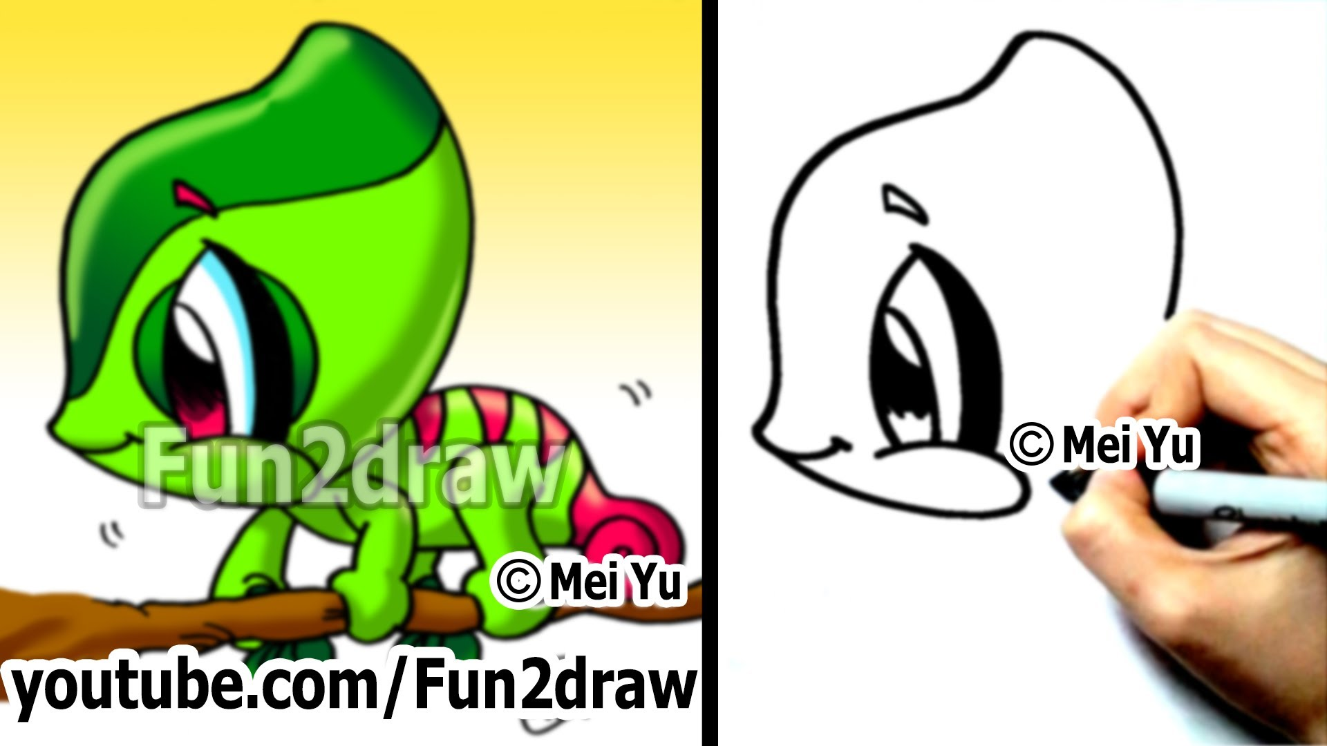 Easy cartoon drawing how. Chameleon clipart simple