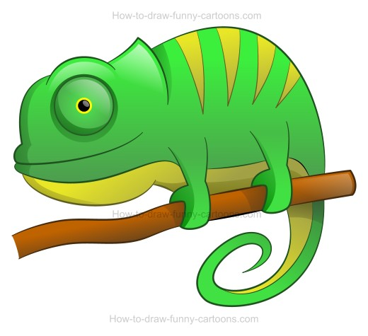 How to draw a. Chameleon clipart simple