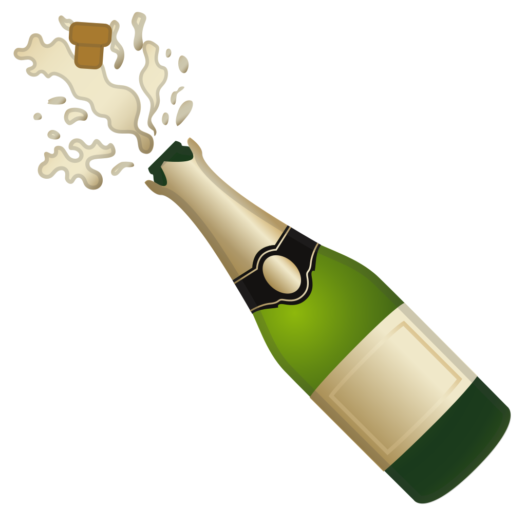 Champagne bottle popping png. With cork icon noto