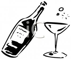 Black and white . Champaign clipart alcohol